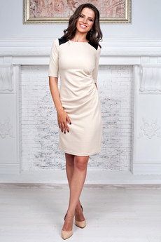 Платье со вставками из кожзама на плечах Angela Ricci