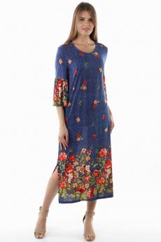 Длинное синее платье с цветами Bast